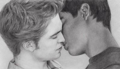 Edward Cullen and Jacob Black kissing